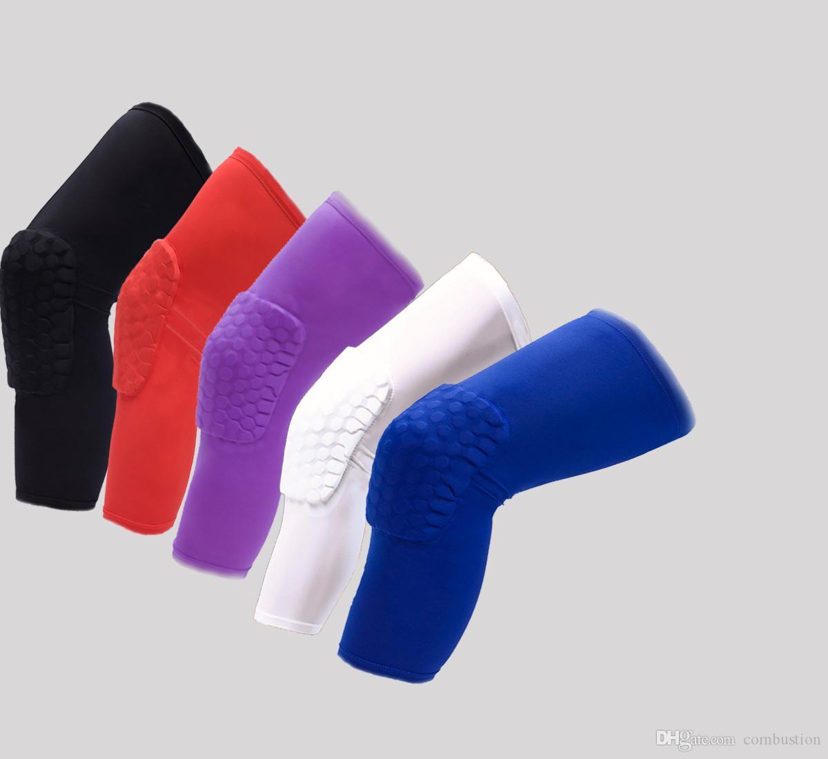 Basquete ao ar livre Favo de mel Kneepads Crash Add Long Leggings Feminino Jogando Thin Knee Brace Men Sports Braçadeiras