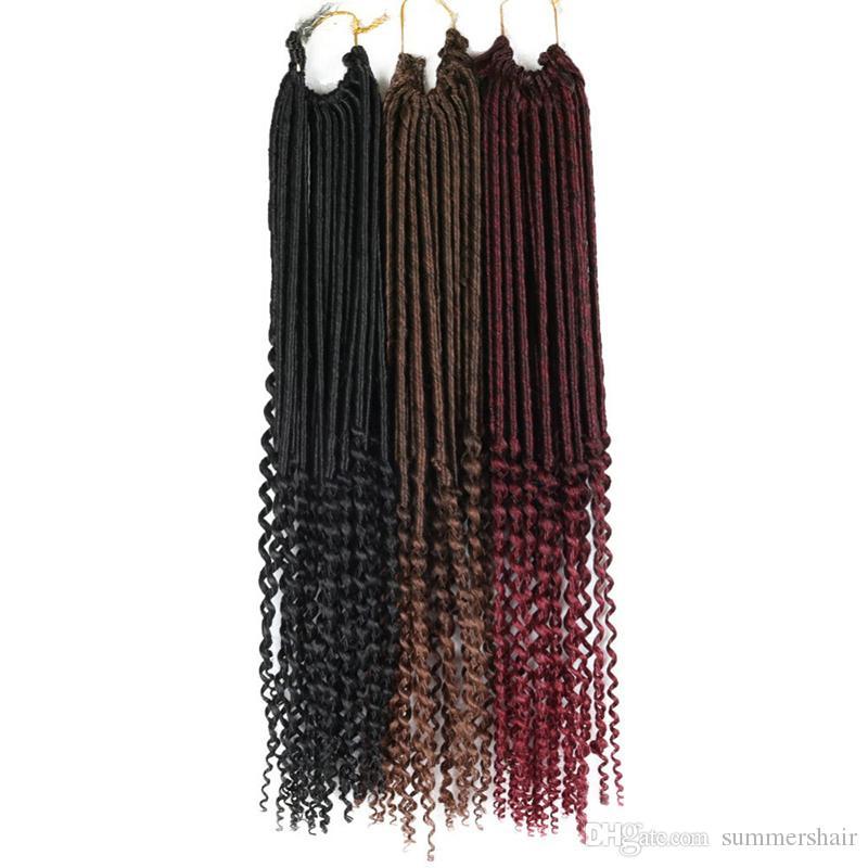 Crochet Braid Hair Faux locs Curly Crochet Hair 24 Roots Sintético Ondulado Faux Locks African Braiding HairStyle