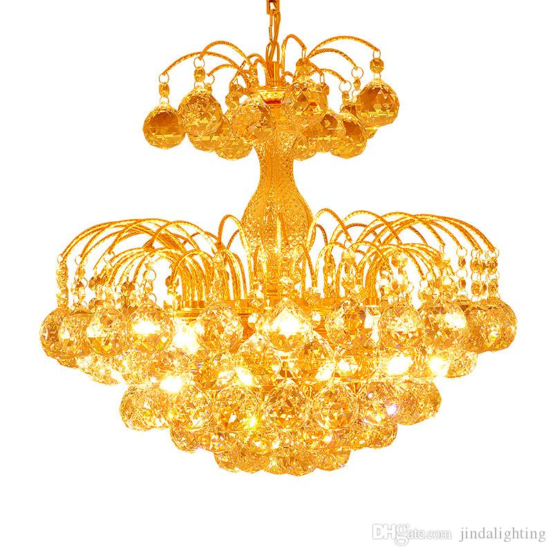 الحد الأدنى الحديثة الذهبي كريستال الثريا مطعم الثريا غرفة نوم رومانسية دافئ الثريا K9 الكريستال مصباح مصابيح غرفة المعيشة