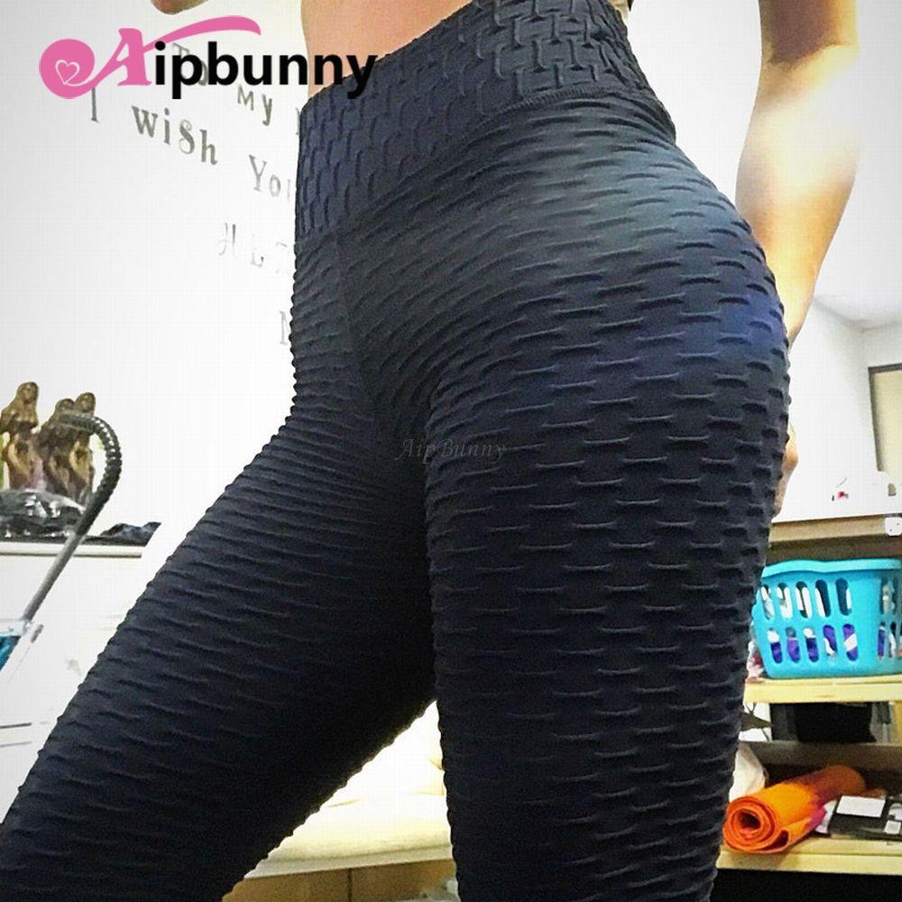 Gimnasio Leggins Pliegues Mujeres Joggers Legins Deporte Fitness Leggings Tight Running Pantalones de yoga Cintura alta Empuja hacia arriba Trabajar