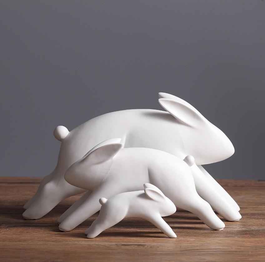 ceramica bianca coniglio statua casa arredamento artigianato decorazione della stanza ornamento porcellana figurine animali decorazioni per bambini