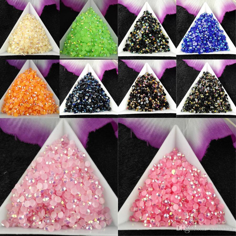 10000pcs/bag SS12 3mm Color Jelly AB Resin Crystal Rhinestones FlatBack Super Glitter Nail Art Strass Wedding Decoration Beads Non HotFix 02