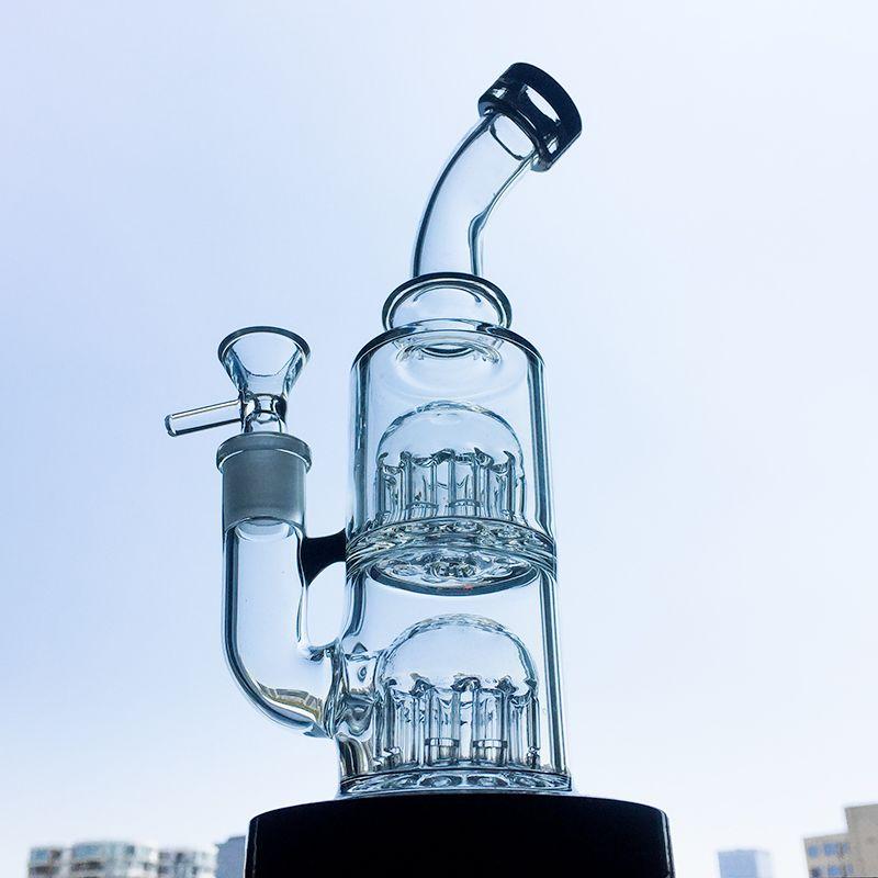 8 Inch Double Tree Perc Glass Bongs 12 Arms Tree Perc Mini Dab Rigs Waterpipe Small Dab Rigs YQ01