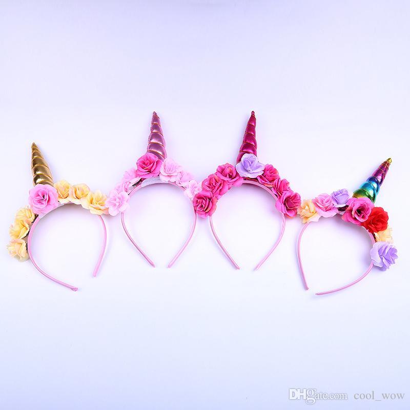 Big Floral Crown Unicorn Horn Hairband Birthday Unicorn Hair Accessory Photo Prop Baby Headband Hot Sale