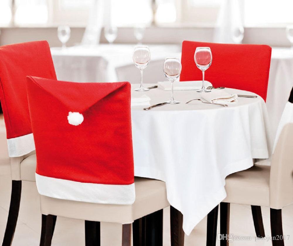 Рождественская крышка стула, Санта-шляпа стул охватывает рождественский декор ужин стул Xmas Cap наборы для рождественский праздник дома кухня ужин декор