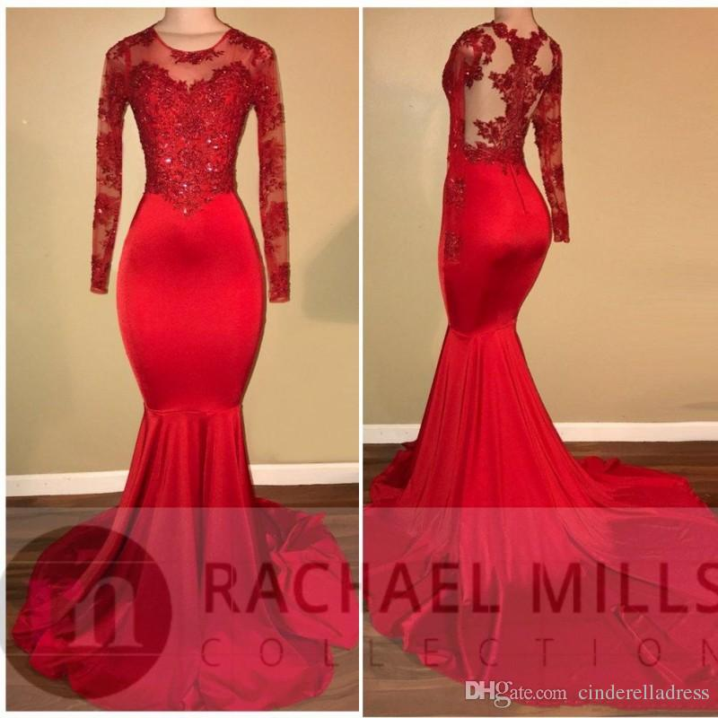 2020 Modest Sheer Long Sleeves Red Prom Dresses Mermaid Appliqued Sequined African Black Girls Evening Gowns Red Carpet Dress BA7856