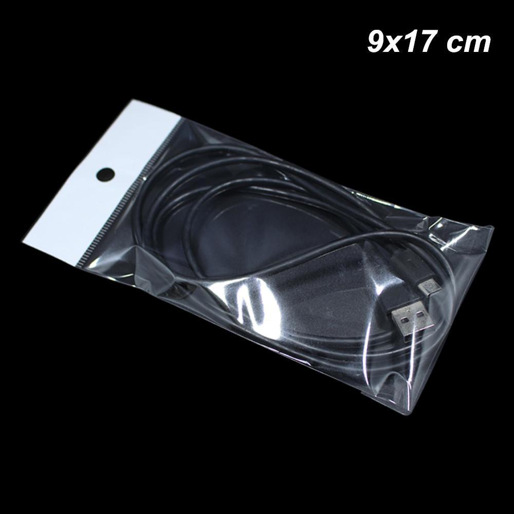 Confezione da 500 pezzi 9x17 cm Self Seal OPP Poli sacchetti di plastica per l'imballaggio con Hang Hole Contenitore di prodotti elettronici autoadesivi per cavo USB