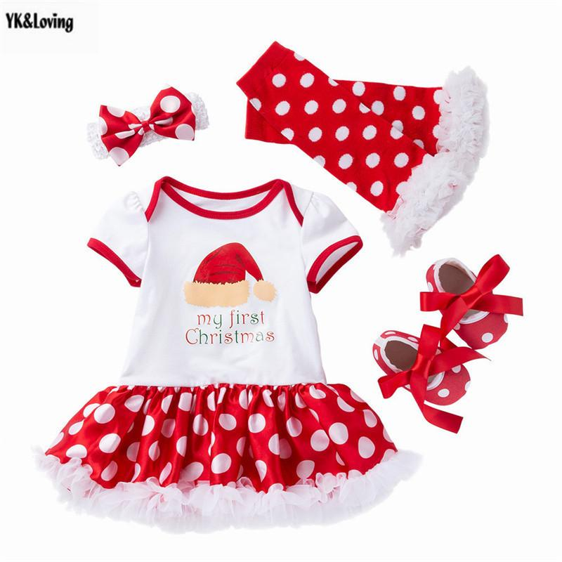 Jour de Noël Vêtements pour bébés Automne 1PC Robe + 1 paire Tube de jambe + 1Pair Chaussures + 1PC bandeau de la photographie Props Spects bébé nouveau-né bébé