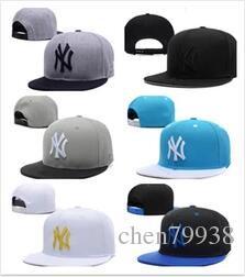 2018 패션 NY 스냅 백 야구 모자 많은 색상 피크 캡 새로운 뼈 조절 가능한 스냅 백 남성용 스포츠 모자 무료 배송 배송 믹스 주문