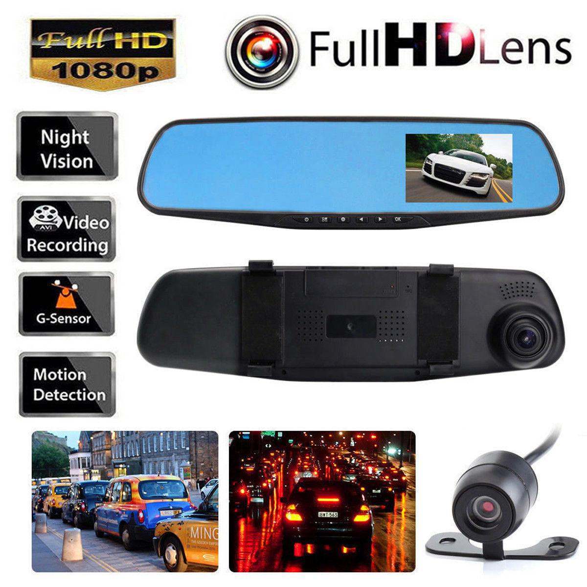 HD 1080P 4.3 '' المزدوج عدسة فيديو مسجل داش كاميرا الرؤية الخلفية مرآة سيارة DVR كاميرا شحن مجاني