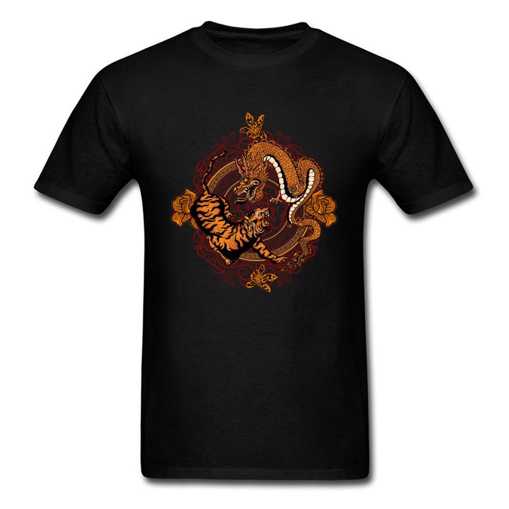 tigre del drago T-shirt in puro cotone per uomo T-shirt slim fit T-shirt girocollo divertente con maniche corte a maniche corte