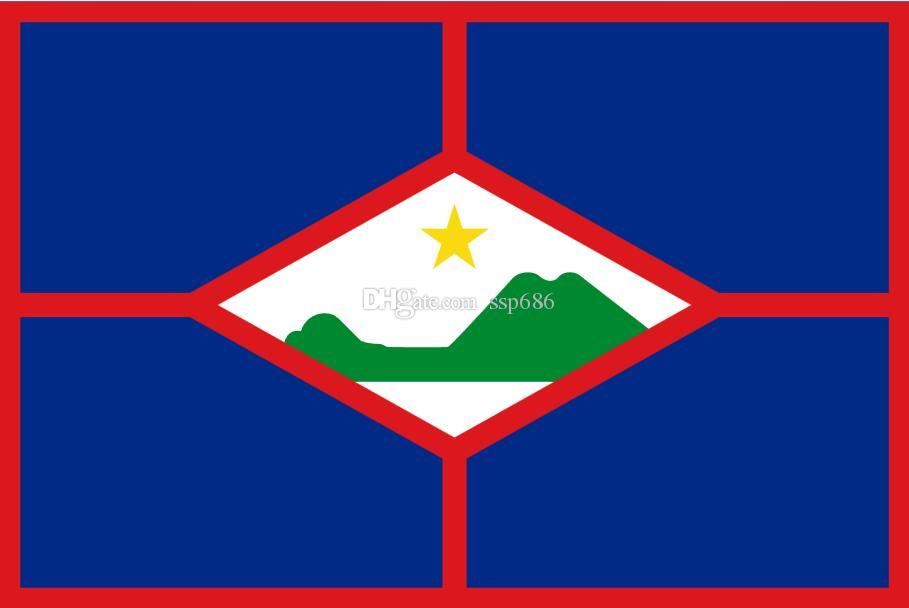 Holandia Holandia Flaga Sint Eustatius 3FT X 5FT Polyester Banner Latający 150 * 90 cm Niestandardowa flaga na zewnątrz