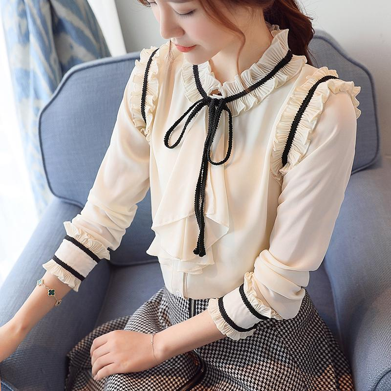 Dingaozlz Elegante Babados Tops Para As Mulheres Casuais Gravata borboleta Chiffon blusa Patchwork Manga comprida ol camisa