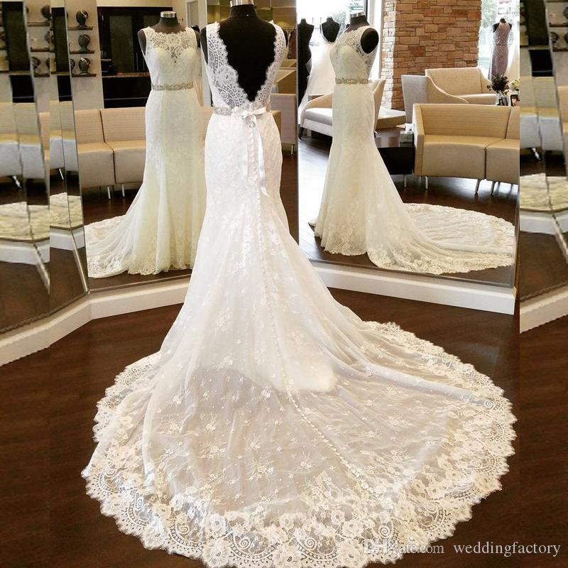 Sexy Plus Size Mermaid Backless Wedding Dresses Illusion Neck Sleeveless Lace Bridal Gowns with Beaded Sash Sheer Train