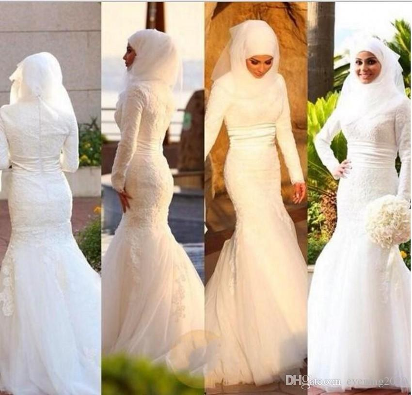 2018 Newest Muslim Pakistan Middle East Wedding Dresses High Neck White Lace Appliques Long Sleeves Floor Length Bridal Wedding Gowns Beautiful