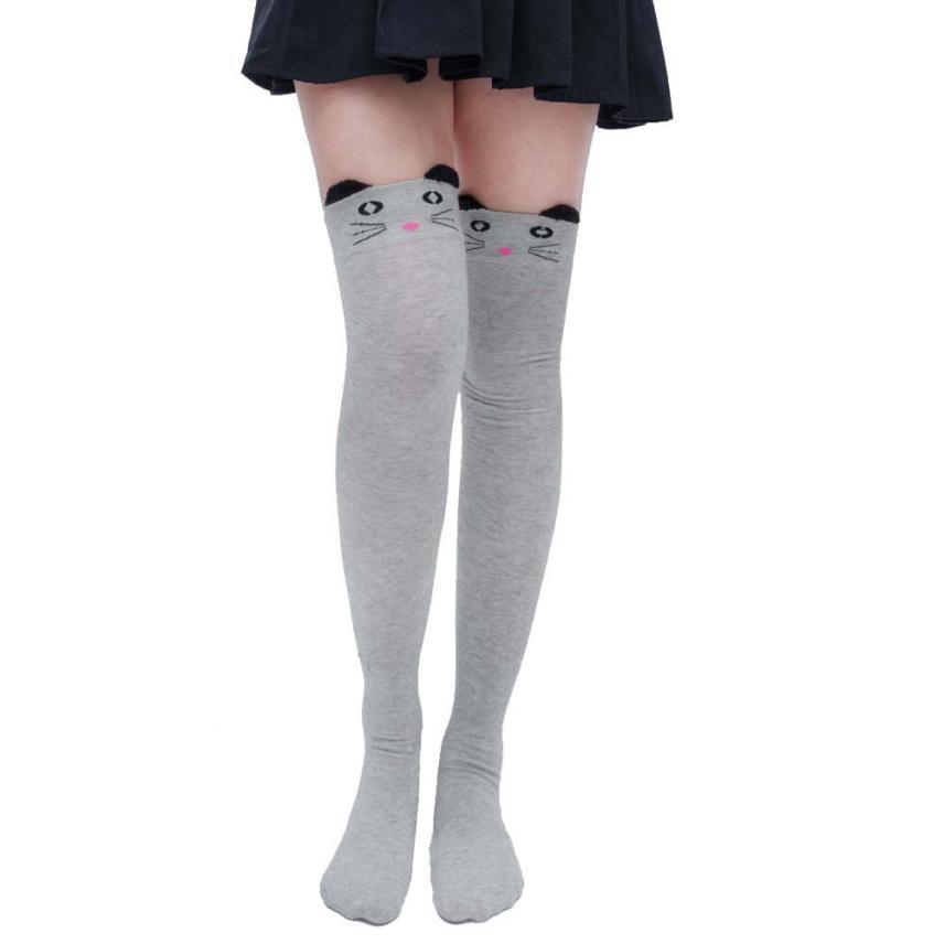 الأزياء 2018 المرأة جوارب لطيف الجوارب القطنية الطابع المطبوعة الأطفال أطفال فتاة الحيوان نمط الركبة عالية الجوارب النسائية # f