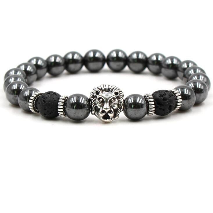 Black Stone Hematite Lava Rock Bracelets Beadeds Skull Lion Owl Skull Bangles For Women & Men Gift