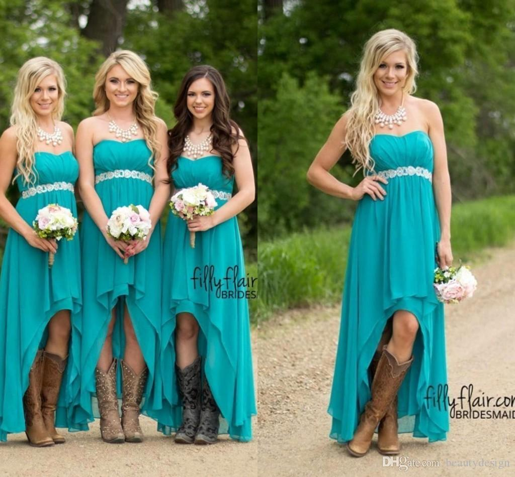 Großhandel Günstige Country Teal Türkis Brautjungfernkleider 12 Chiffon  Sweetheart High Low Lange Peplum Hochzeit Gast Brautjungfern Maid Honor