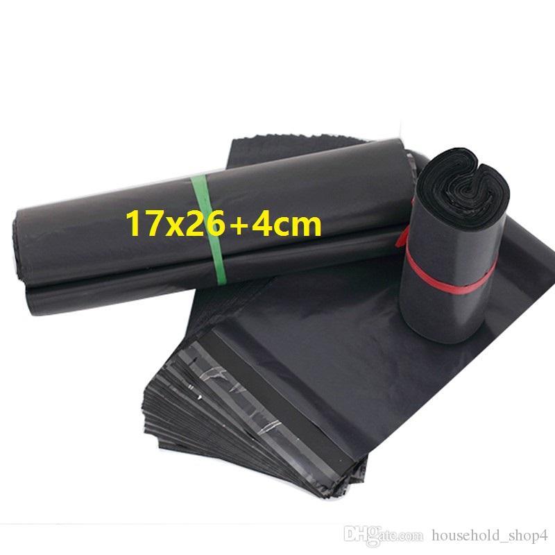 100pcs 17x26+4cm Gray Black Express Bag mails bag mailing packaging Envelope Self Adhesive Seal Plastic Bag