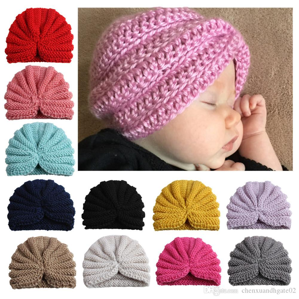 2018 Newest Cute Toddler infants india hat kids winter beanie hats baby knitted hats caps turban caps for girls