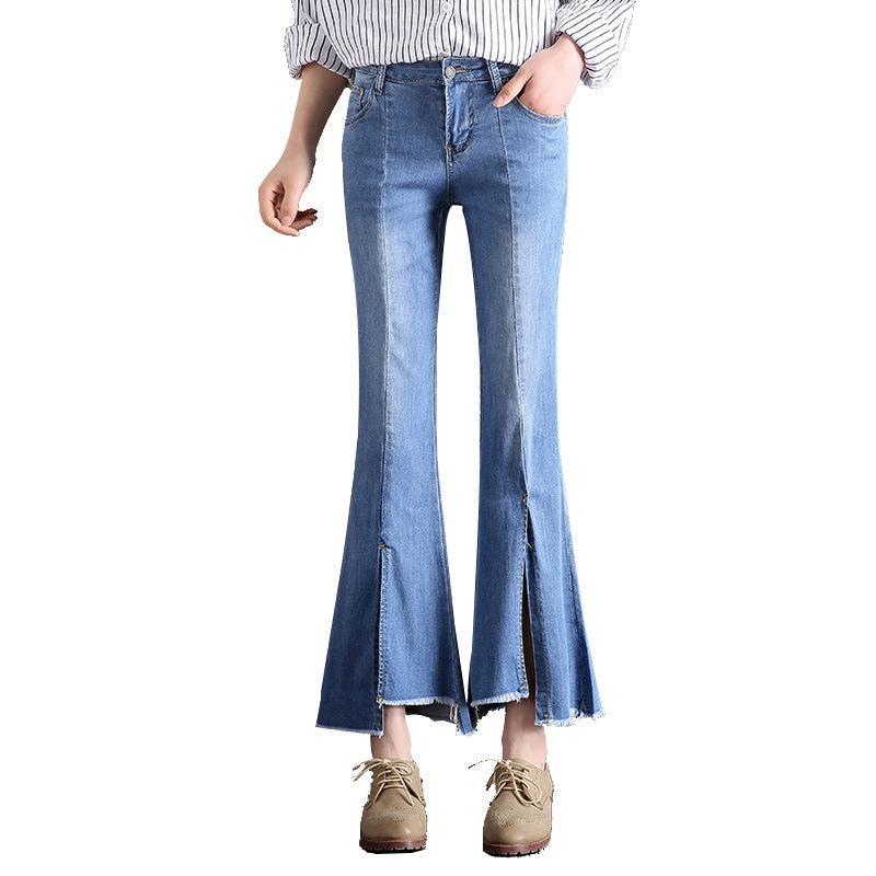 슬릿 빅 플레어 여성 청바지 데님 바지 캐주얼 진 팬츠 Mid-waist 2018 가을 여성 패션