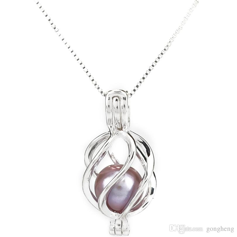 925 Sterling Silver Pick a Pearl Cage Warp Twist Cage Locket Pendant Necklace Boutique Lady Gift
