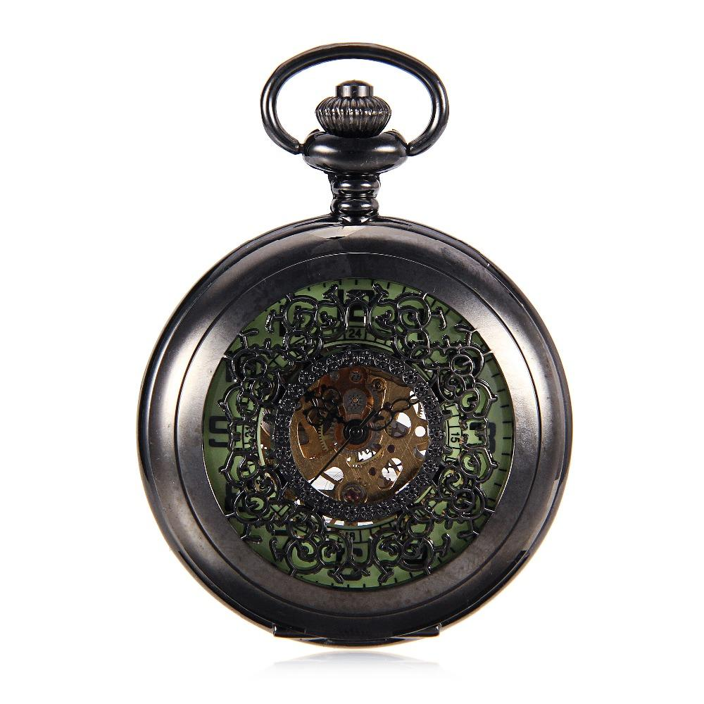 New Luminous Mechanical Pocket Watch Steampunk Vintage Hollow Cover Analog Skeleton Hand Winding Mechanical Pocket Watch for Men