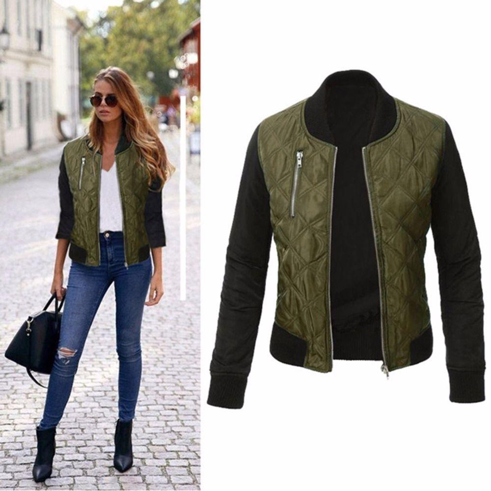 Puskyy Fashion 가을 여성 군대 그린 폭격기 재킷 Parkas Cool Zipper 다운 재킷 코트 Streetwear 패치 워크 바이커 Outwear