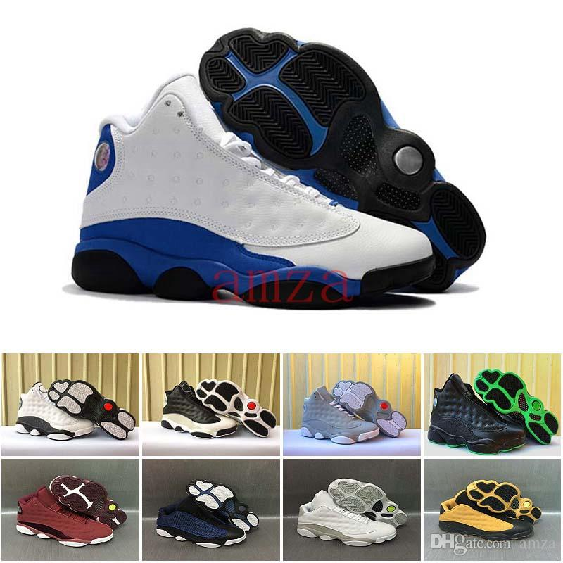 huge selection of 6c259 7071f Cheap 2017 Air Retro 13 Hyper Royal Blue Basketball Shoes Mens Shoes Olive  Green Black Cat Low Pure Money Wine Heiress Trainers Sports Sneakers Cool  ...