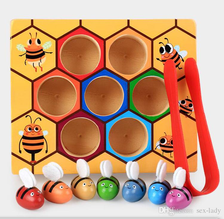 1 Set Montessori 7pcs Bees Hive Games Board Clamp Fun Picking Catching Toy Educational Beehive Baby Kids Developmental Toy Board