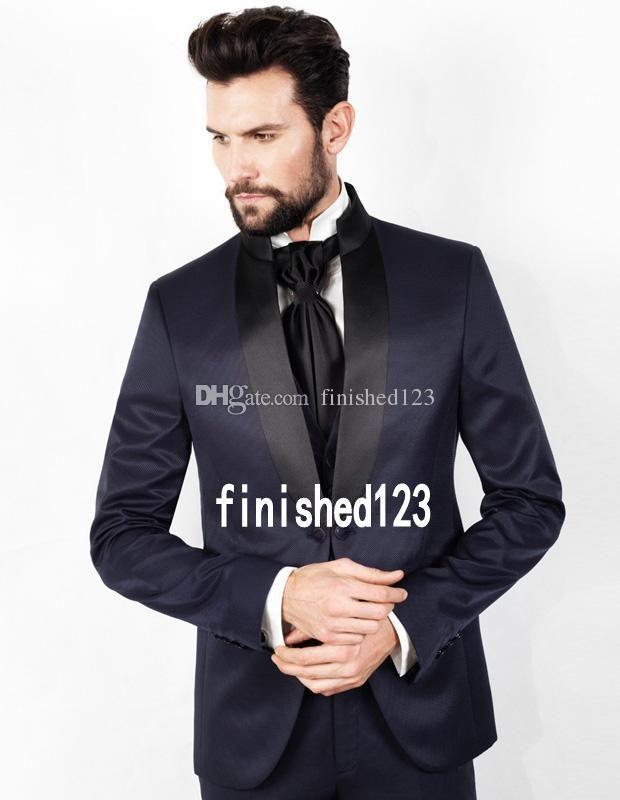 Пользовательский дизайн одна кнопка темно-синий свадебный жених смокинги Шаль лацкане жениха мужской ужин блейзер костюмы (куртка+брюки+жилет+галстук) нет: 1532