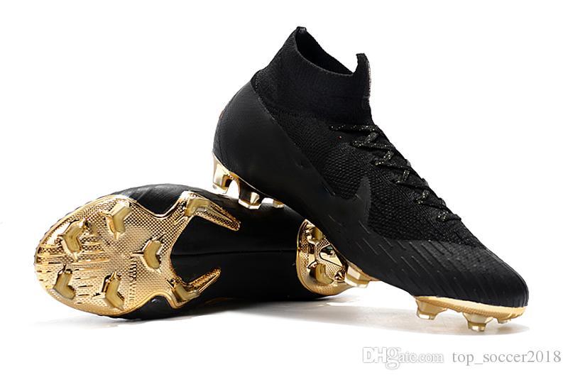 2018 Top Original Black Gold Ronaldo Tacchetti da calcio Mercurial Superfly VI 360 Elite Neymar FG CR7 Soccer Shoes High Ankle scarpe da calcio