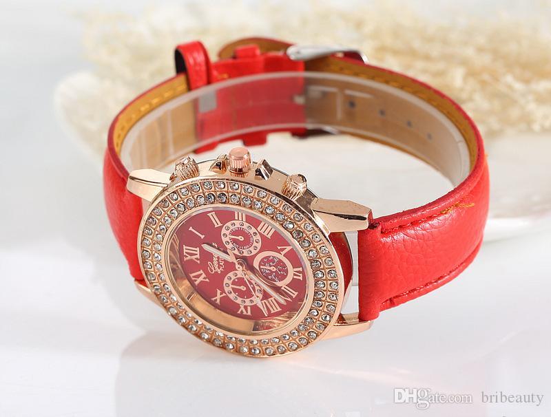 Nouveaux Mesdames Faux Femmes Chronographe Roman Chronograph CLASSIC Mode Quartz Geneva Montre-Bracelet Feminino Regarder Relogio Cuir cadeau LaAB