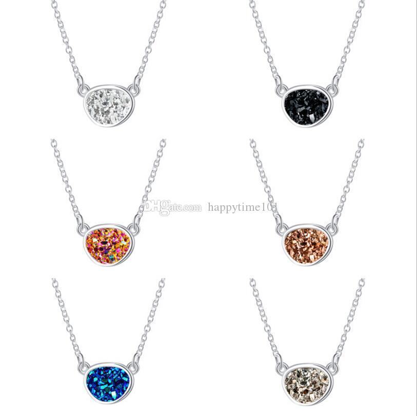 Moda Irregolare Circle Ovale Druzy Drusy Collana in argento placcato cristallo Faux resina pietra gioielli accessori donna