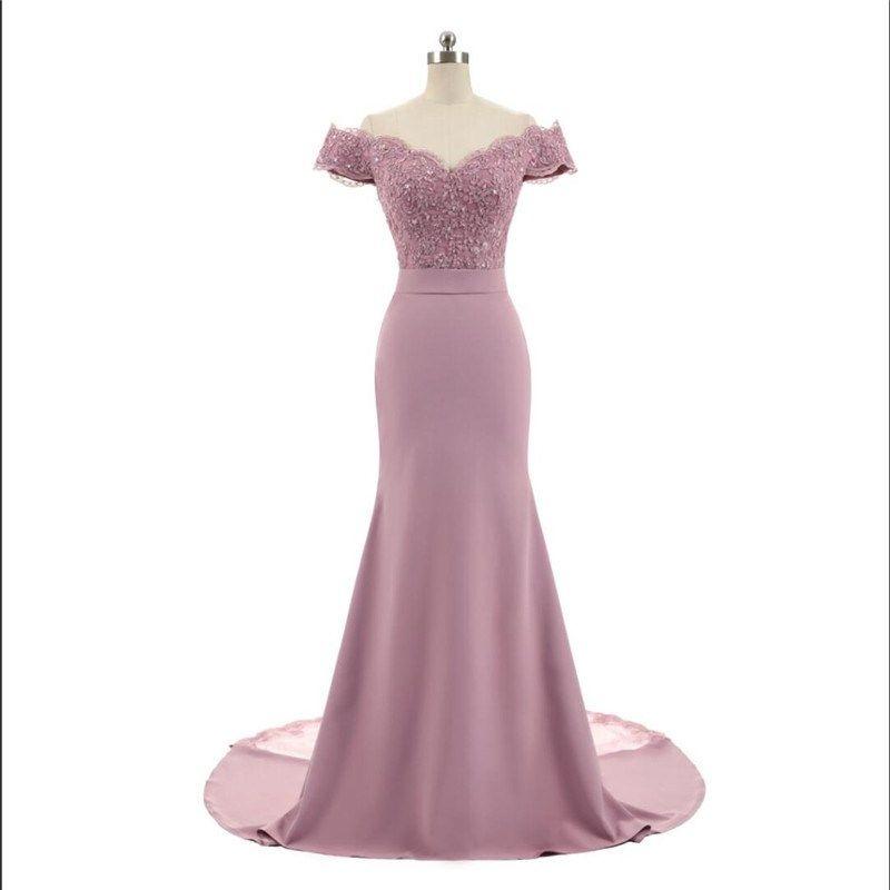 Recién llegado rosa con cuello en v manga casquillo de la vendimia apliques de encaje con cuentas sirena vestidos de dama de honor vestidos de fiesta Vestido De Festa