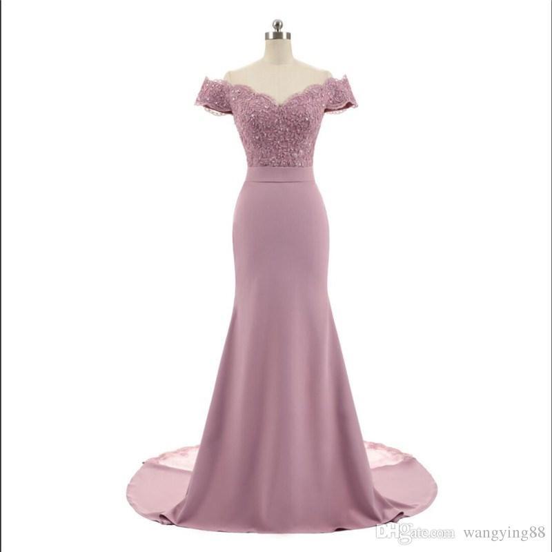 Nuovo arrivo Pink V Collo con scollo a V Manica Vintage Lace Appliques Beaded Mermaid Abiti da damigella d'onore Abiti da ballo Vestido De Festa