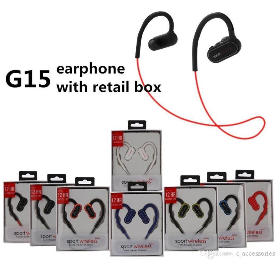 G15 auriculares inalámbricos G15 auriculares G15 bluetooth auriculares deportivos estéreo a prueba de agua en la oreja gancho auriculares inalámbricos con micrófono y caja al por menor