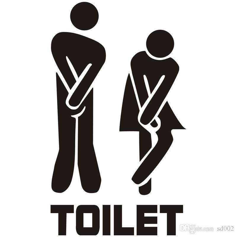라벨 화장실 붙여 넣기 독창성 영어 편지 욕실 벽 스티커 남자와 여자 재미 입구 기호 스티커 핫 판매 1XX 전주