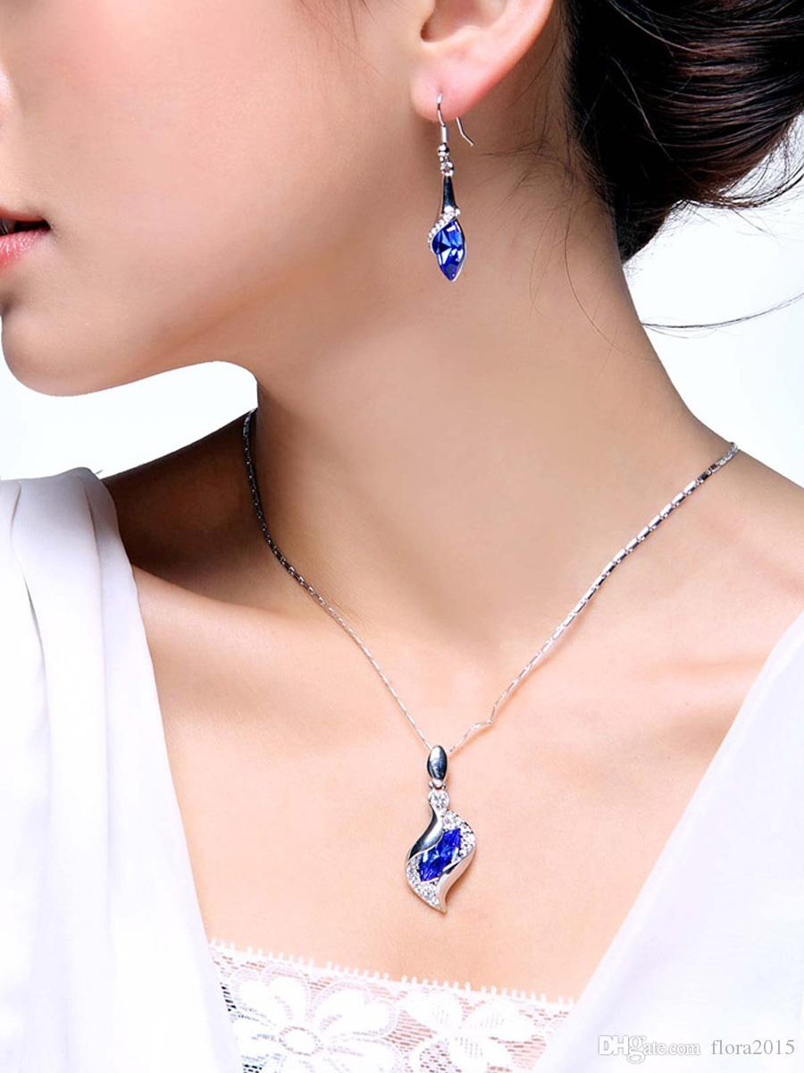 Blue Crystal Necklace Earring Set Made with Swarovski Elements Cristal Fashion Angle Tear Drop Design Jewelery for Women Gift