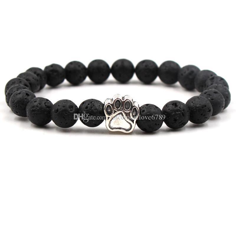 7 ألوان الكلب باو الأسود الحمم ستون سوار الروائح الناشر الضروري النفط سوار للرجال النساء تمتد المجوهرات