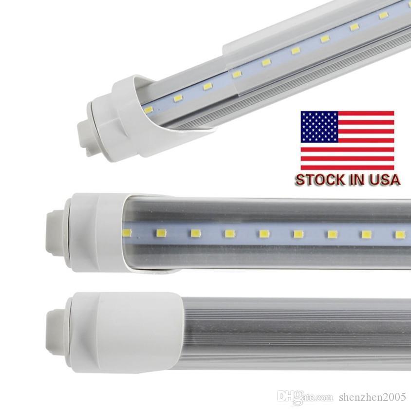 미국 주식 무료 배송 12PCS 많은 LED T12 교체 쿨러 도어 96 ''8 피트 튜브 45W 5000Lm T8 LED 8 발 일광 전구 6000K-6500K