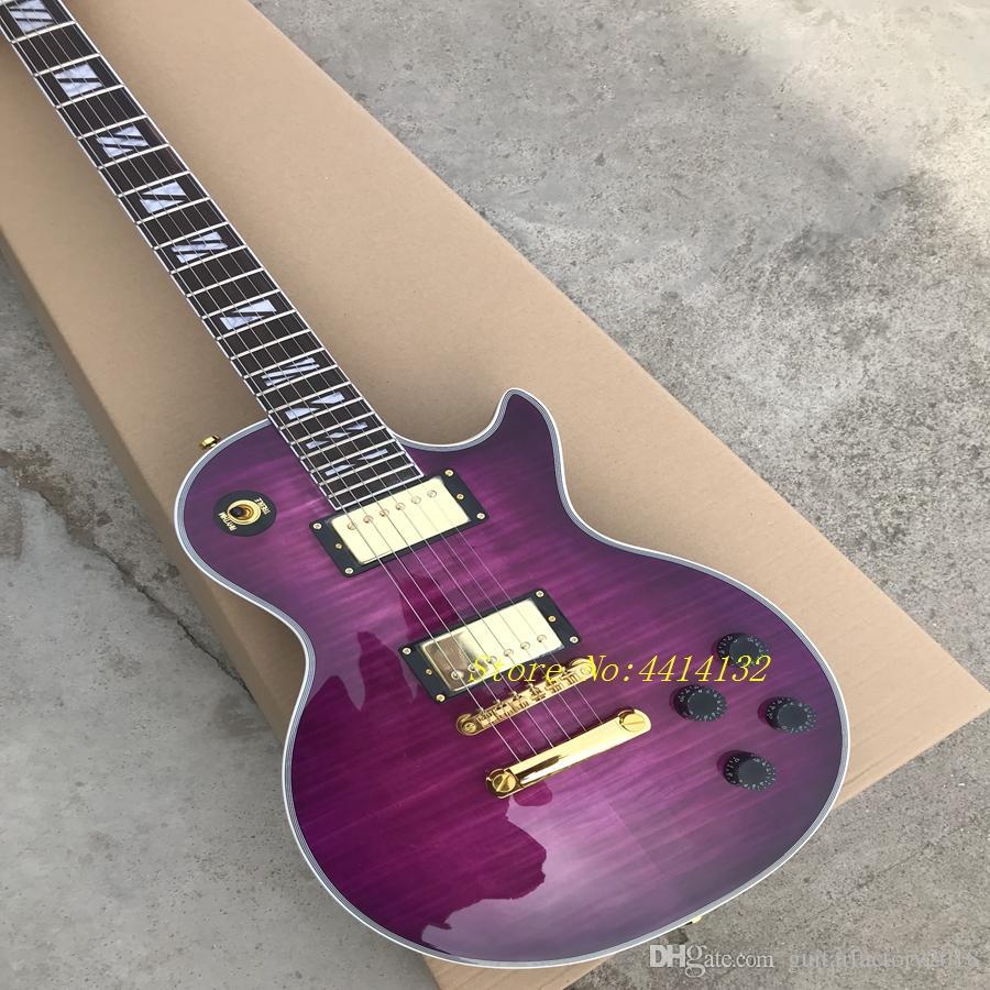 best custom shop purple electric guitar gold hardware HOT SALE free shipping