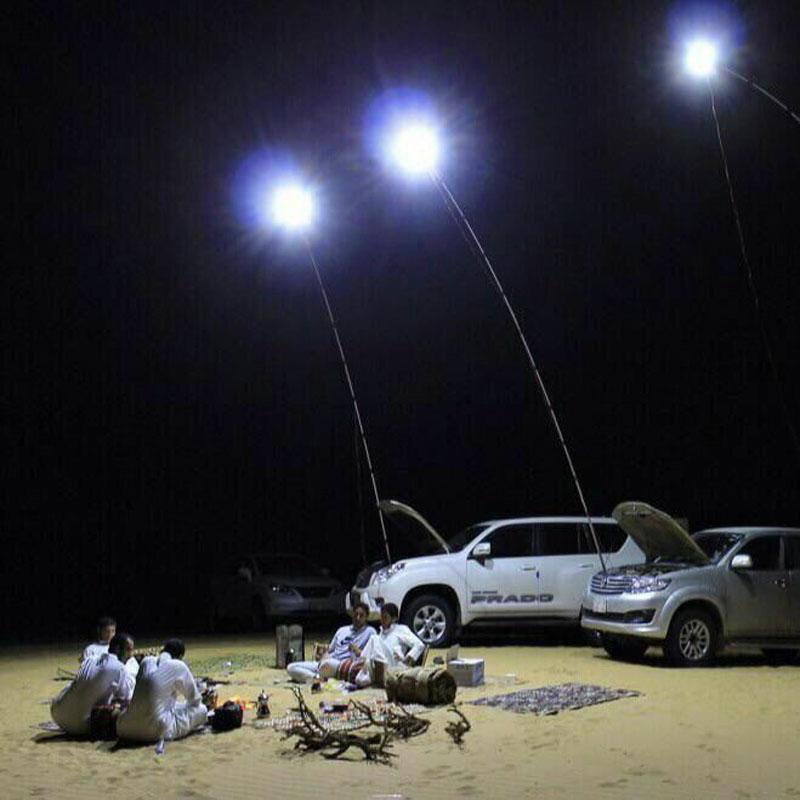 224pcs LED COB 12V LED canne à pêche télescopique Lanterne extérieure Camping lumière pour Road Trip ou lampe de poche mobile