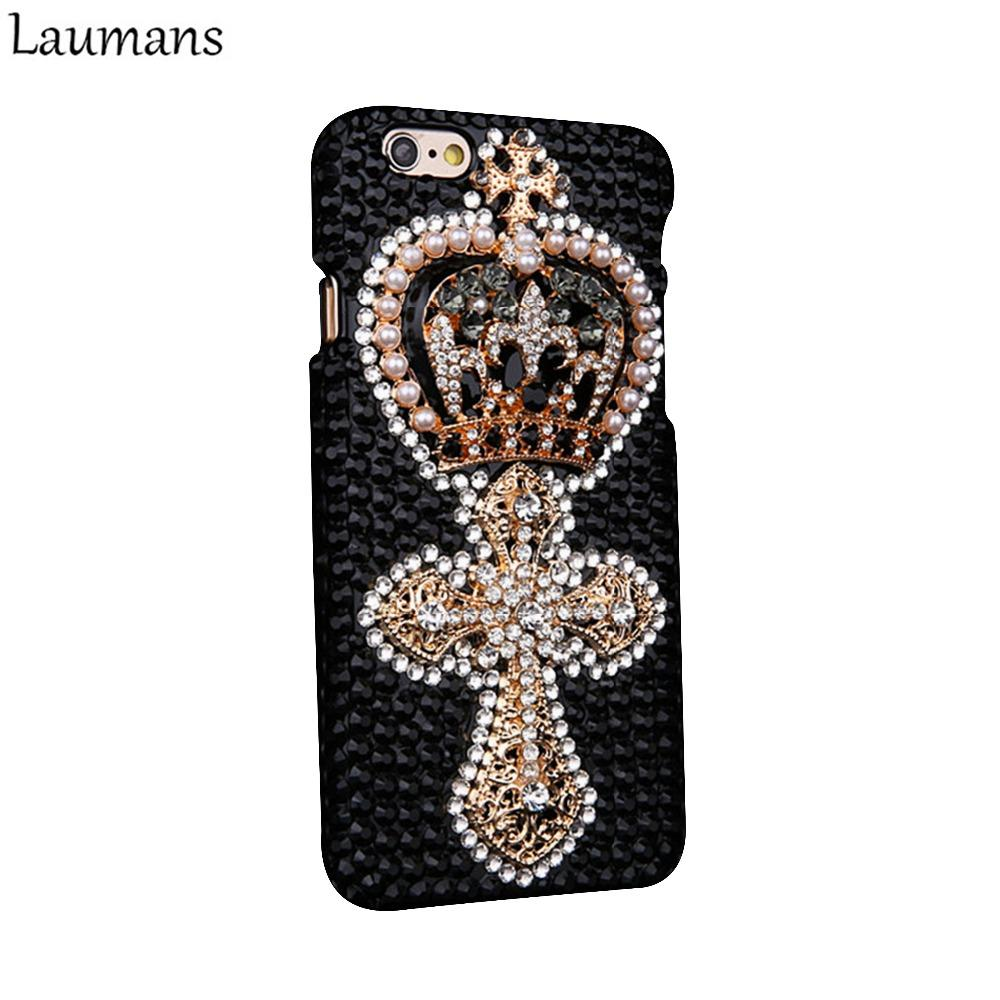 Laumans пользовательские горный хрусталь телефон Case для Iphone 4s 5s 5c 6 6 S Плюс Ретро Корона жемчуг кожи обложка для 7 плюс 8 Плюс Алмаз Case