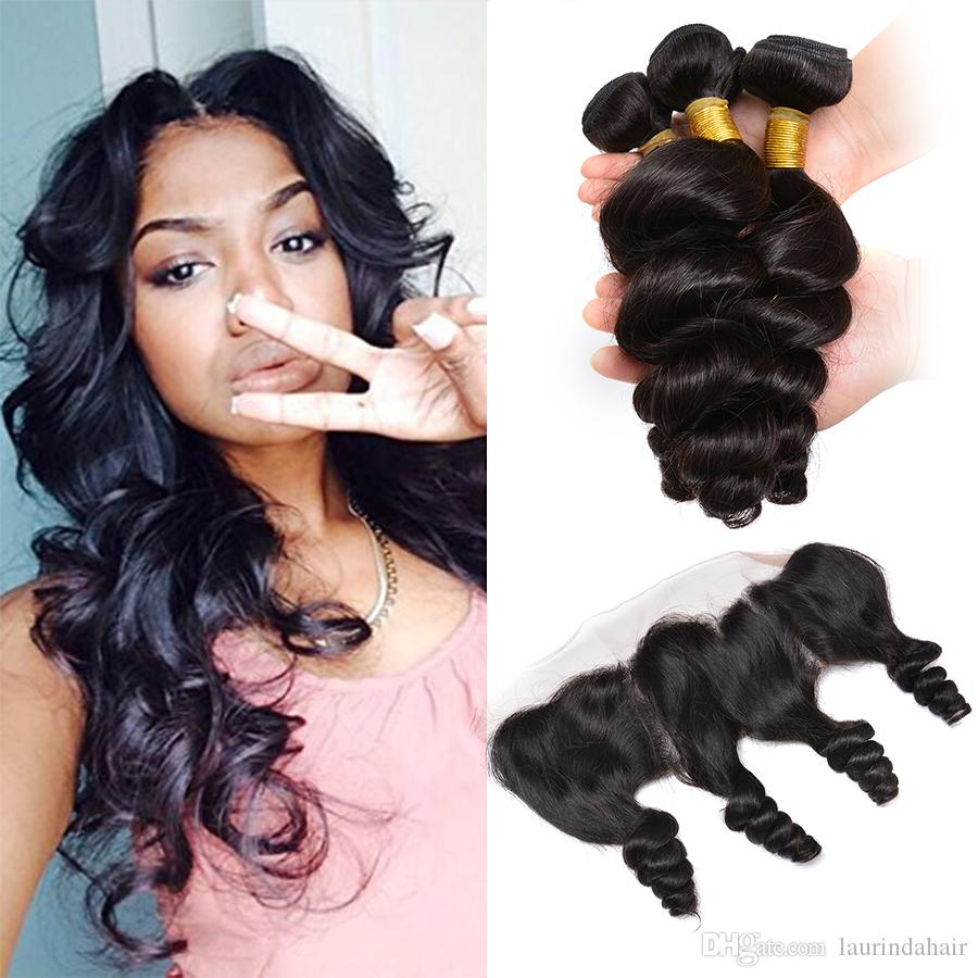 13x4 Ear to Ear Lace Frontal Closure With 3 Bundles Brazilian Loose Wave Curly Virgin Peruvian Indian Malaysian Human Hair Weaves Closures