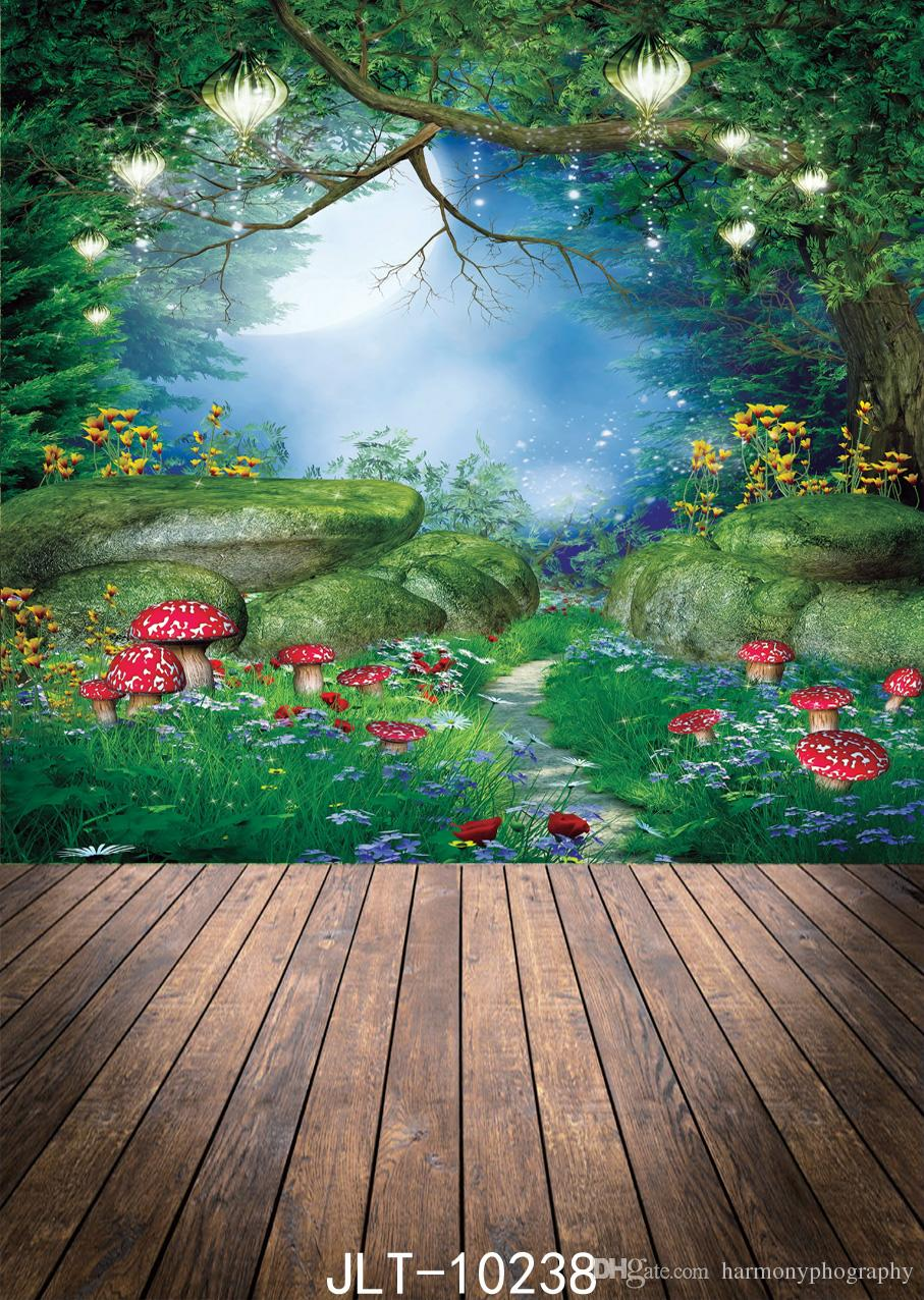 mushroom fairy tale photography backdrop forest flower glitter tree moon background jungle party photophone photocall decor for photo studio