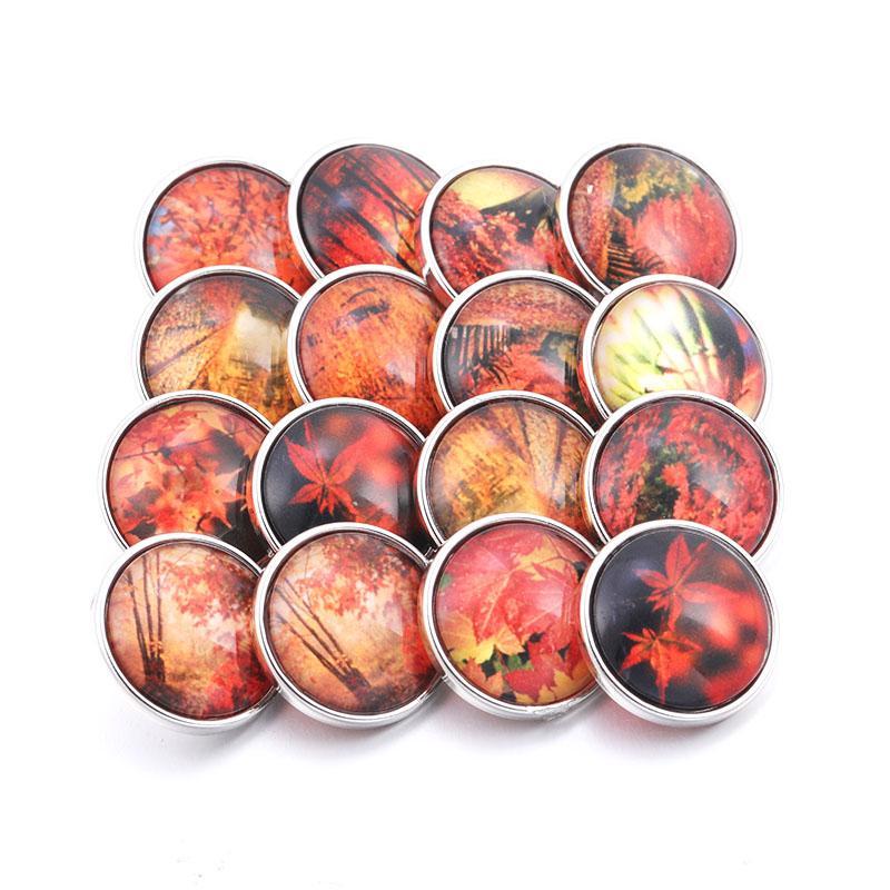 Boutique romantic red maple leaf glass snap button 10pcs / lot 18mm snap female pendant bracelet jewelry accessories HJ175