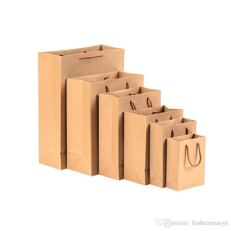 100 Pcs Brun Kraft Papier Shopping Marchandise Partie Cadeau Sacs avec Corde Poignées 16 Tailles En Gros