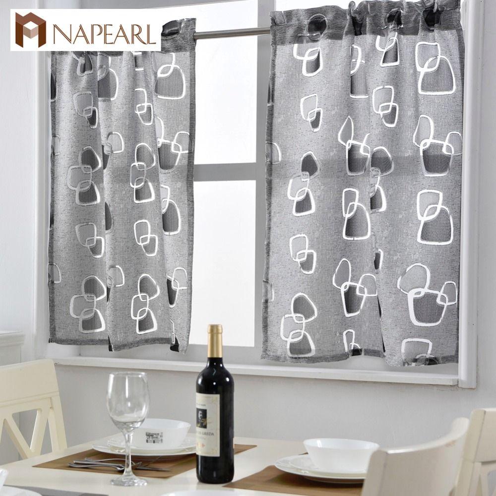 2019 Short Kitchen Curtains Jacquard Window Treatments Modern Door Ready  Made Kitchen Window Curtain Geometric Design Rod Pocket From Greenliv,  $37.57 ...