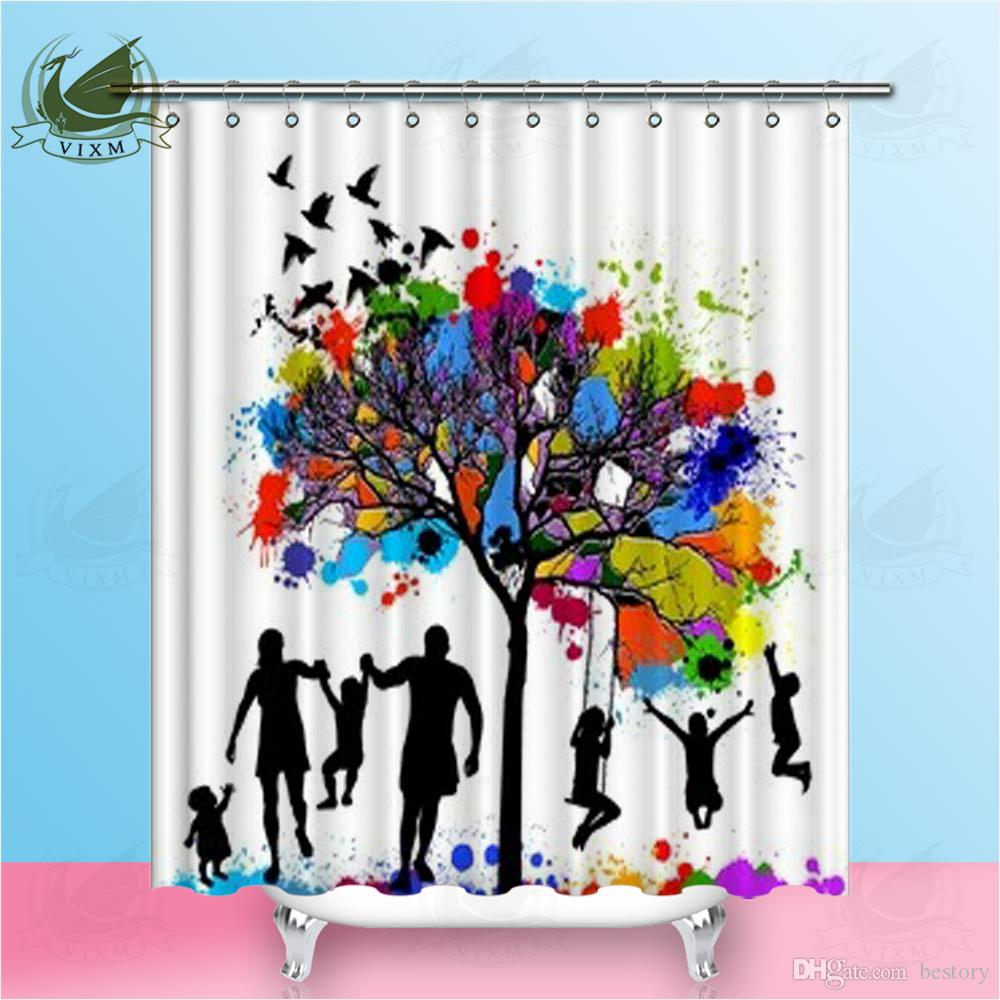 """Vixm Home Colored Tree With A Family Fabric Shower Curtain Oil Painting Bath Curtain For Bathroom With Hook Rings 72"""" X 72"""""""